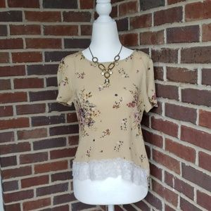 NWT Rewind Tan Taupe Floral Lacey Top Blouse Sz S